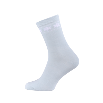 Ladies Casual Cotton Socks with Flowers Light Blue