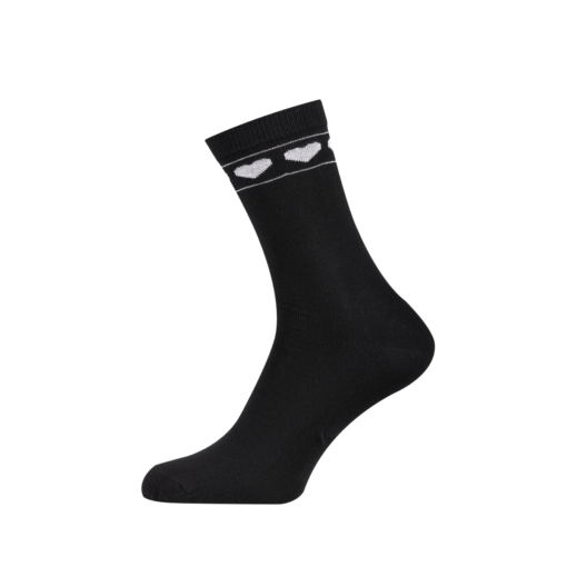 Ladies Casual Cotton Socks with Hearts Black
