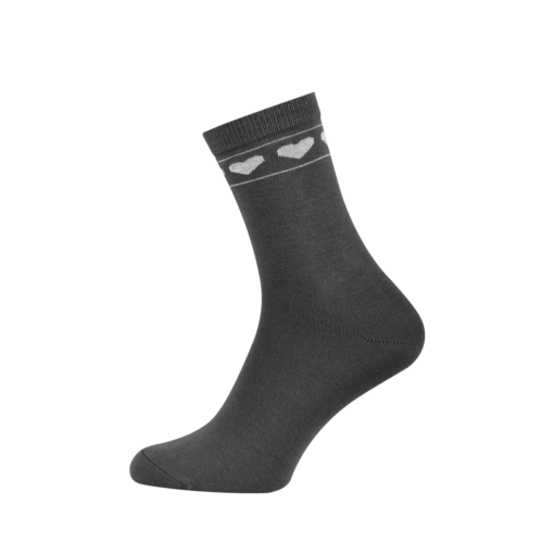 Ladies Casual Cotton Socks with Hearts Graphyte